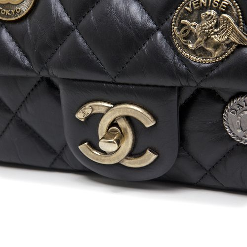 cc08338e8024 Chanel Black Quilted Aged Calfskin Paris - Dubai Medium Medallion Flap Bag  - modaselle