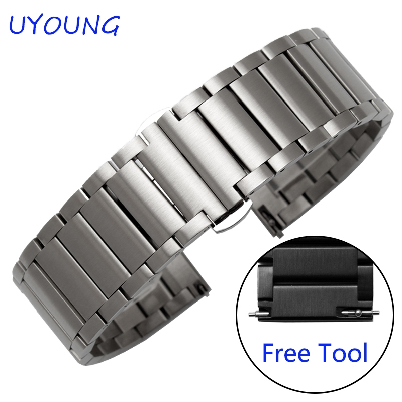 17.91$  Watch here - http://alirwo.shopchina.info/go.php?t=32741268869 - Quality Solid Stainless Steel Watchband 20mm For Samsung Gear S2 Luxury Matt Mens Black Strap Replacement Steel Watch bands 17.91$ #aliexpress