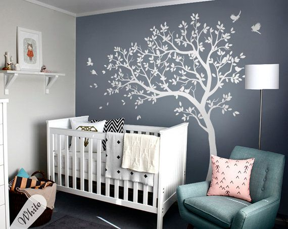 White tree decals Large nursery tree decals with birds ...