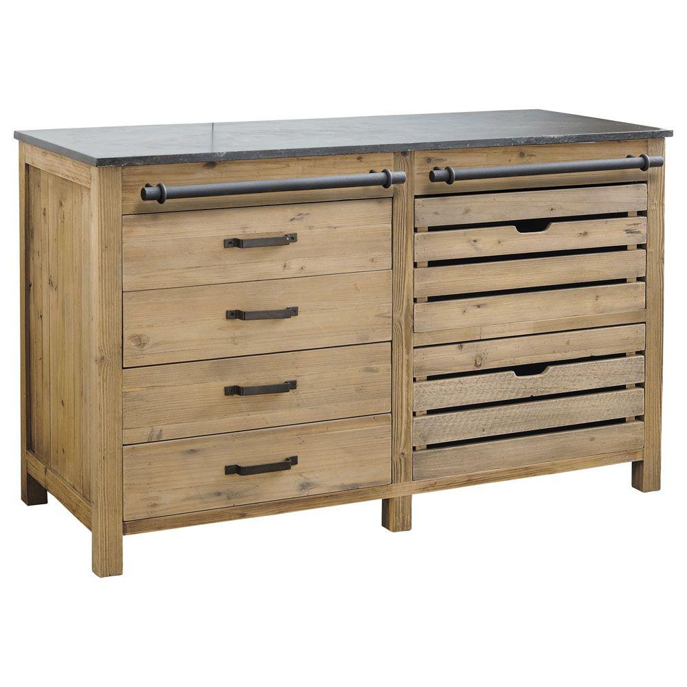 Küchenunterschrank aus recyceltem Kiefernholz, B 140 | Küchenmöbel ...