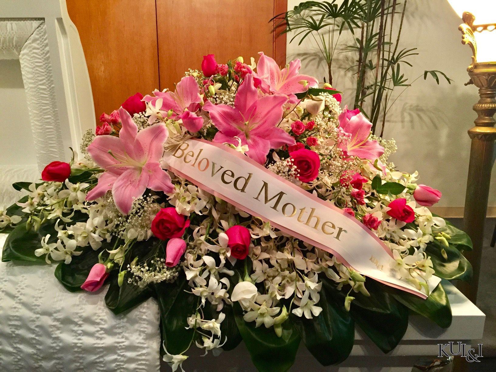 Pink Casket Spray Kui I Florist Llc Hilo Hawaii Kuiandiflorist