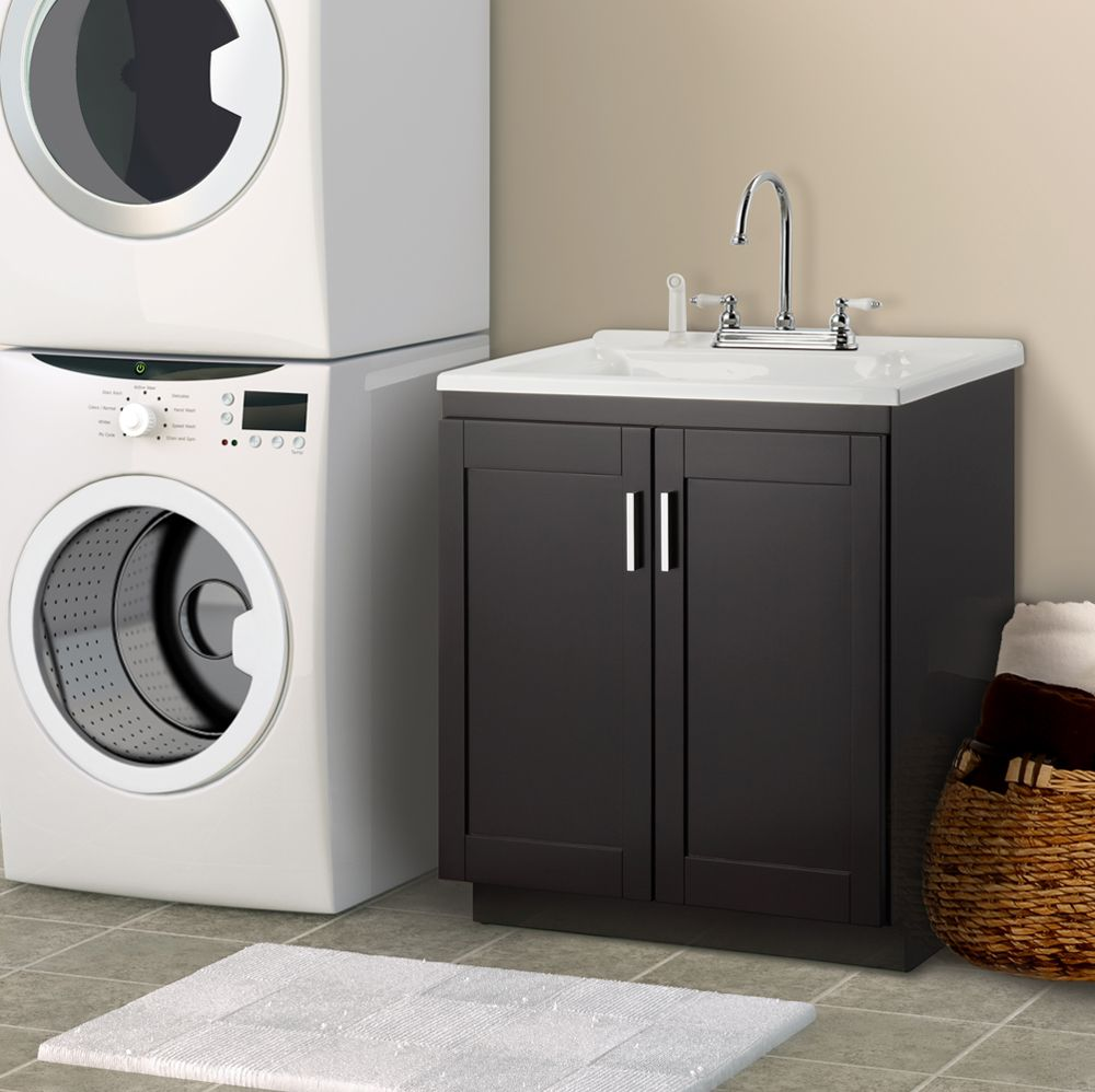Palermo 24 in. Laundry Sink With Cabinet & Faucet Kit - Home Depot ...