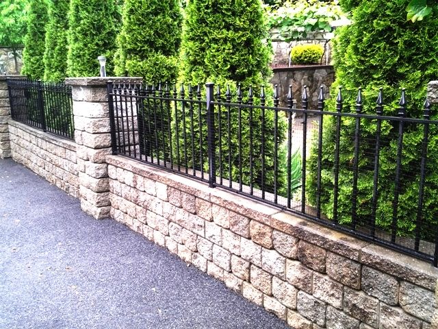 Pin By Salem Fence Co On Wrought Iron Fence Backyard Fences Front Yard Fence Landscaping