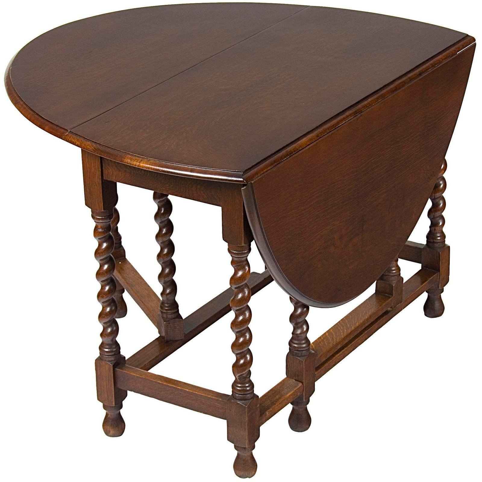 1920s Jacobean English Oak Barley Twist Gate Leg Drop Leaf Table