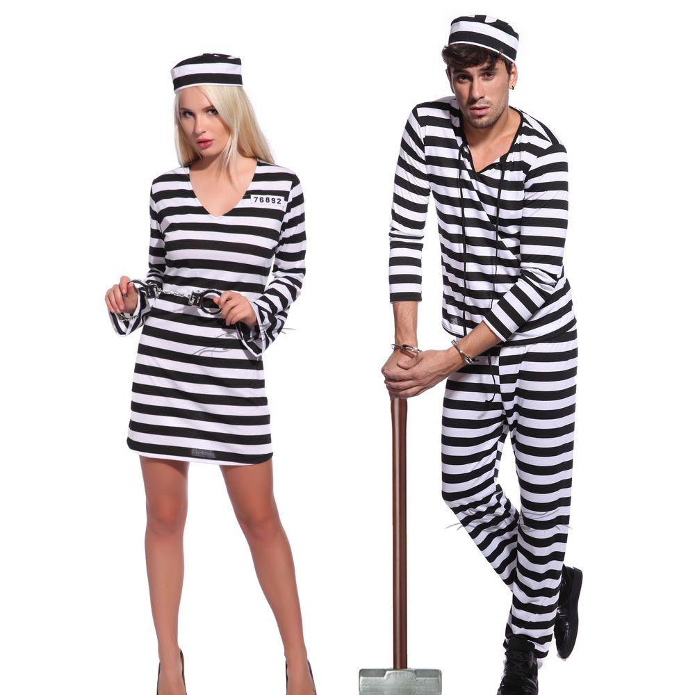 Men Womenu0027s Convict Jail Prisoner Costume $15  sc 1 st  Pinterest & Men Womenu0027s Convict Jail Prisoner Costume Black White Striped Fancy ...