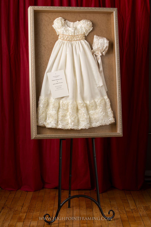 custom framing, baptism gown framing, christening gown framing, new ...