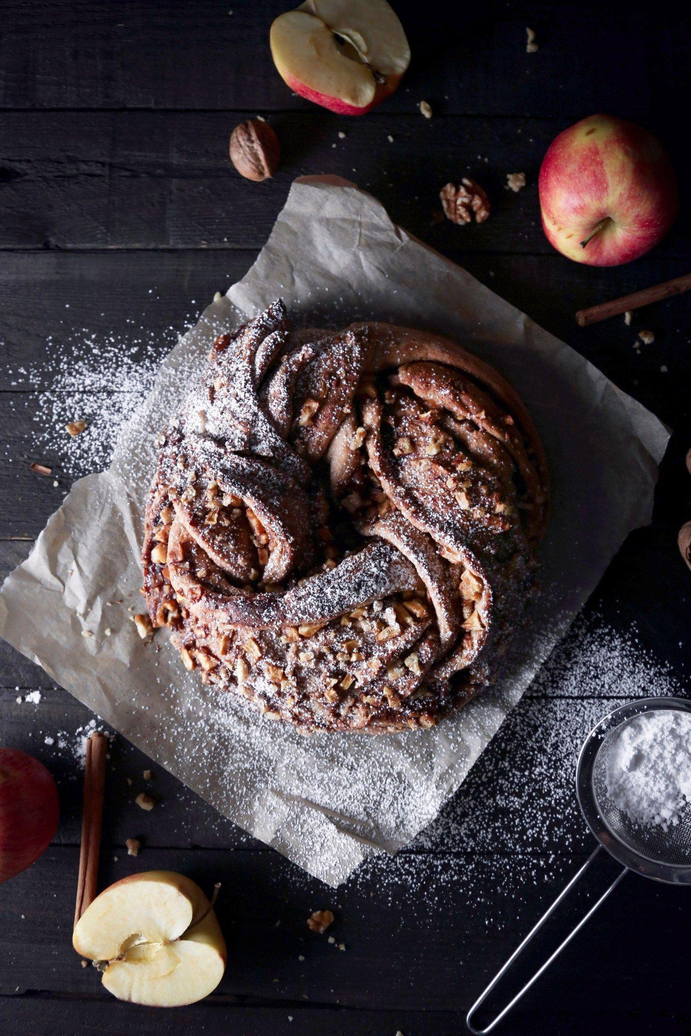 Braided Apple Walnut Bread | Free of dairy, eggs, and refined sugar. Vegan friendly.
