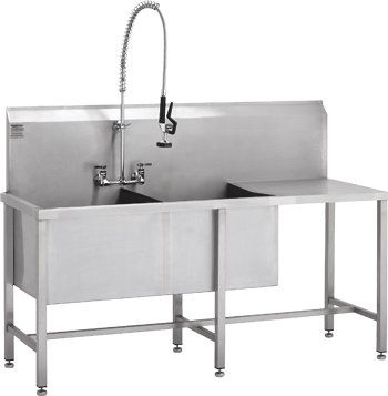 utility sink double bowl with drainer