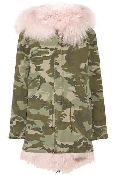 Tonal green and beige cotton canvas, baby pink shearling