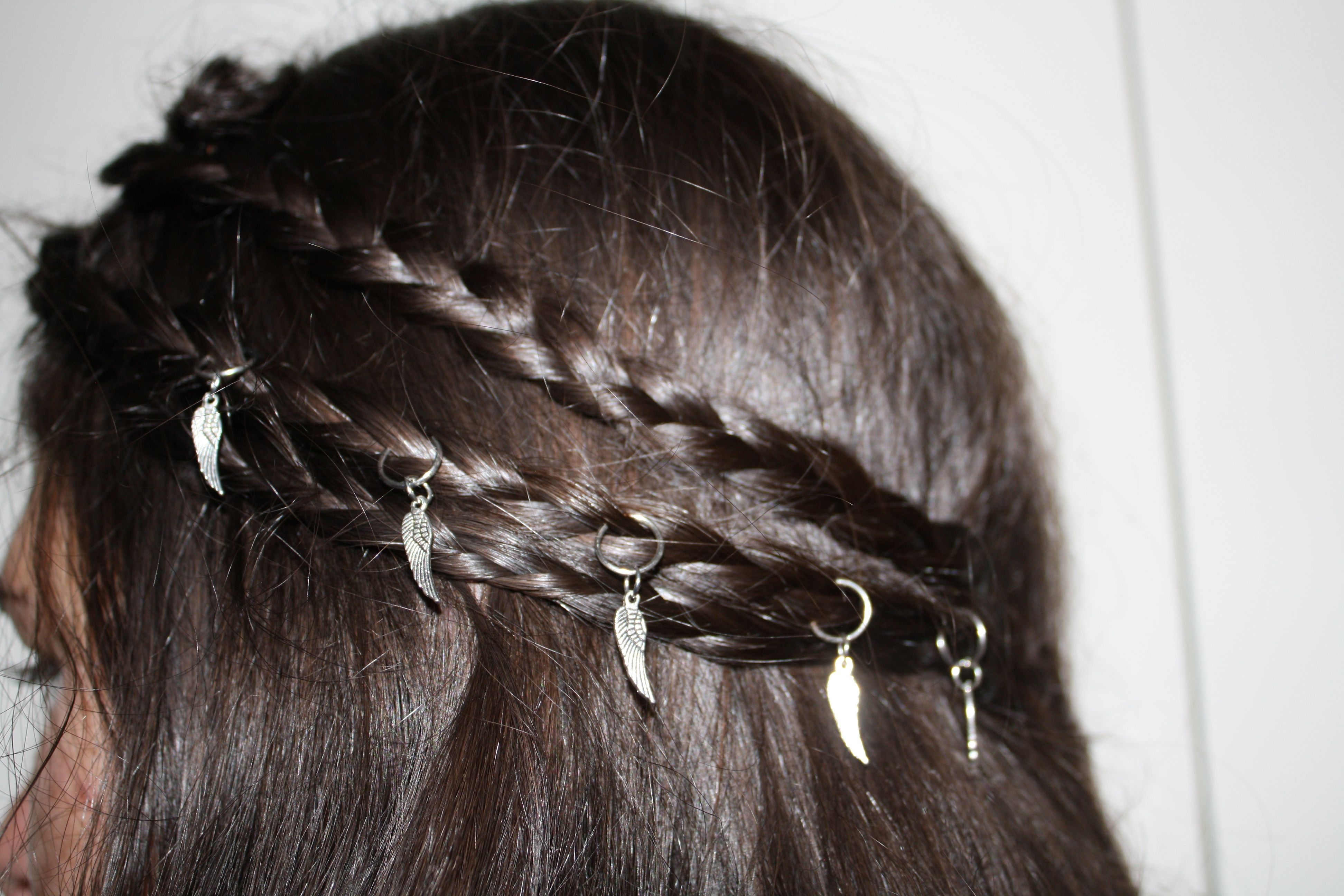 9632b755a3 Hair Rings for Braid Piercing. NEW STYLE - Silver with Angel Wings. Hippy  boho festival hair.