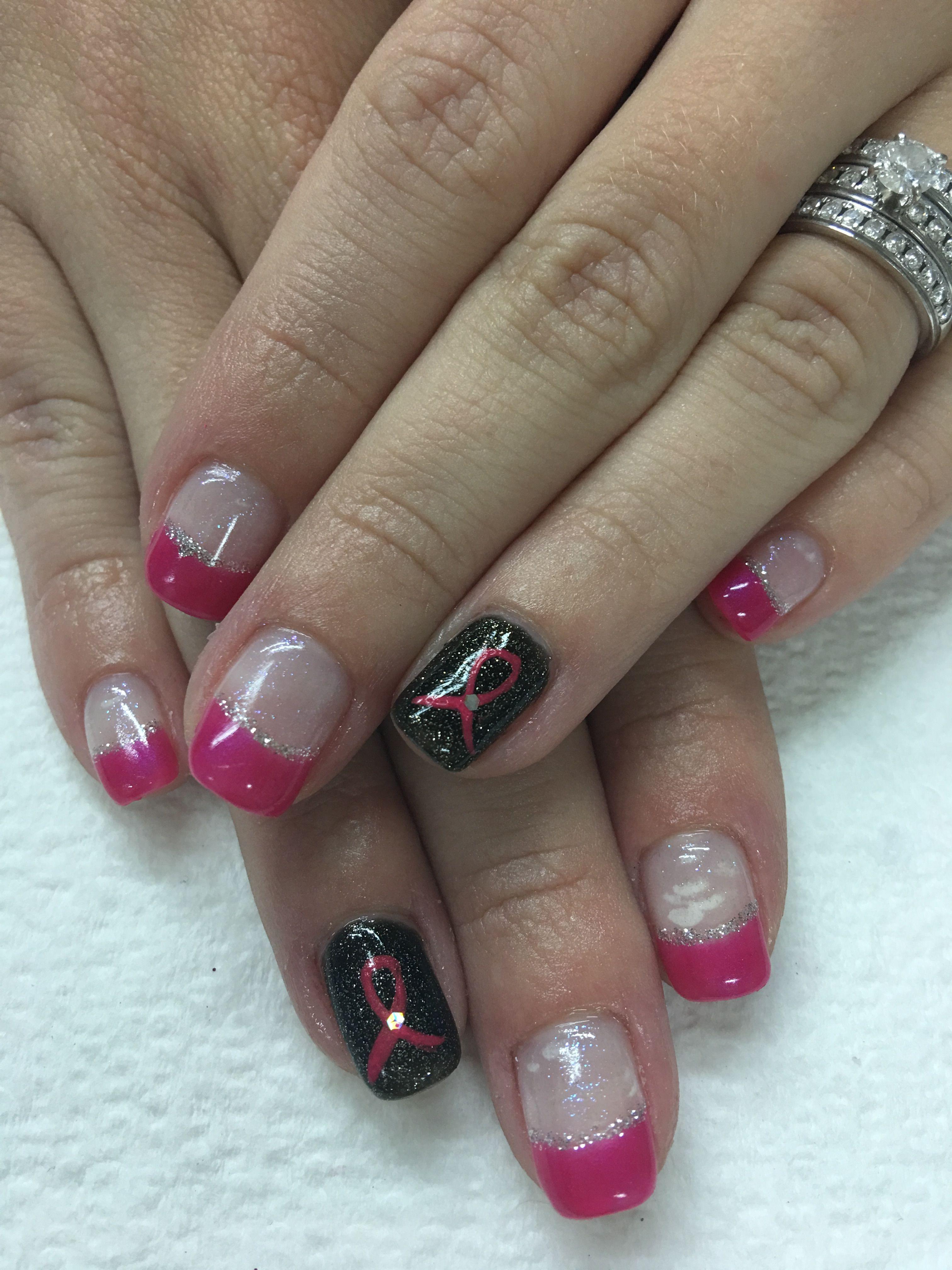 Fuchsia French Silver Black Pink Ribbon Gel Nails   Gel Nail designs ...