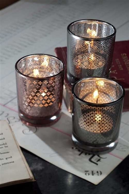 Mercury Gl Votives In Pink And Grey
