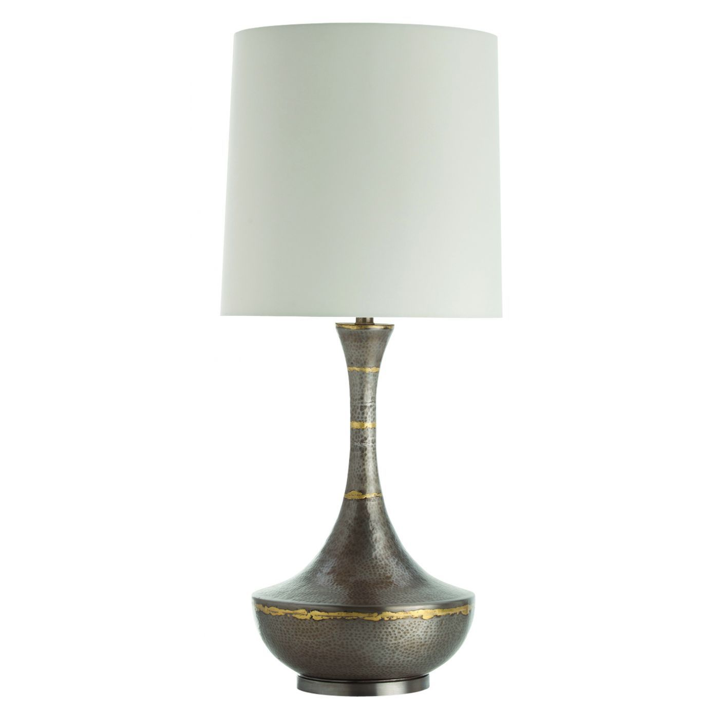 An iron table lamp with a tapered vase body featuring brass an iron table lamp with a tapered vase body featuring brass colored ring details topped geotapseo Choice Image