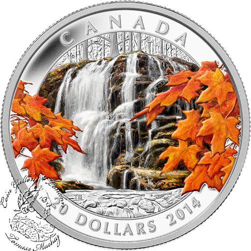 Coin Gallery London Store - Canada: 2014 $20 Autumn Falls Coloured Silver Coin, $99.95