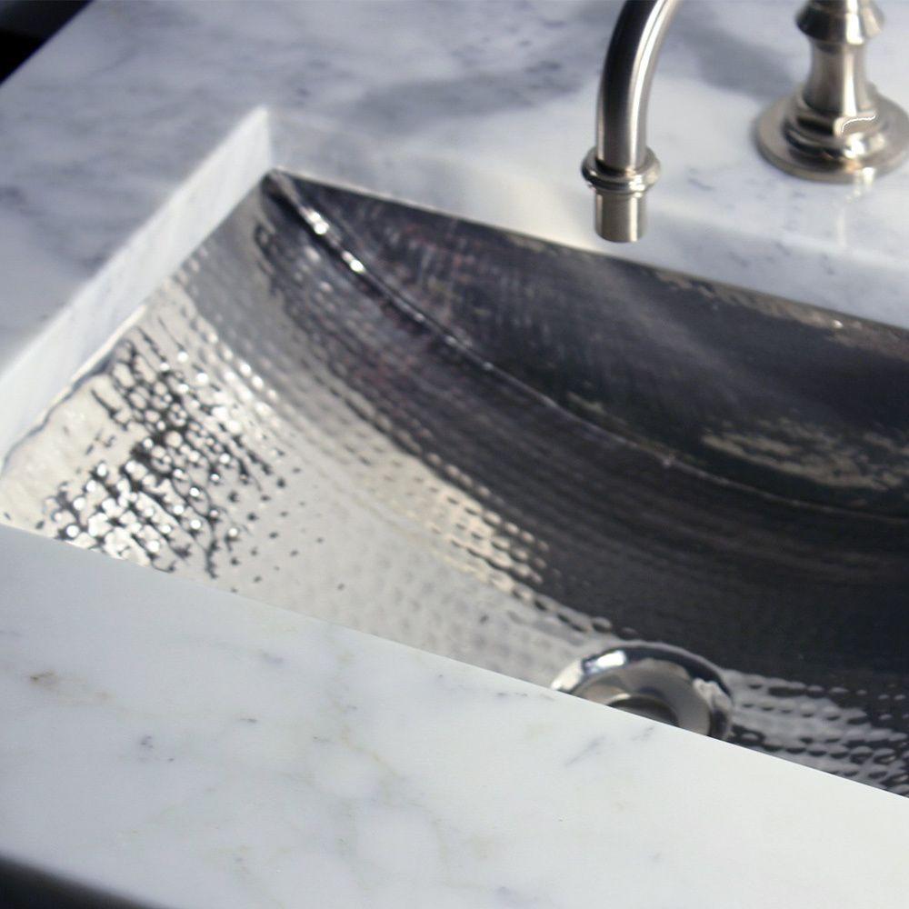 Inch Artisan Hammered Nickel Undermount Bathroom Sink