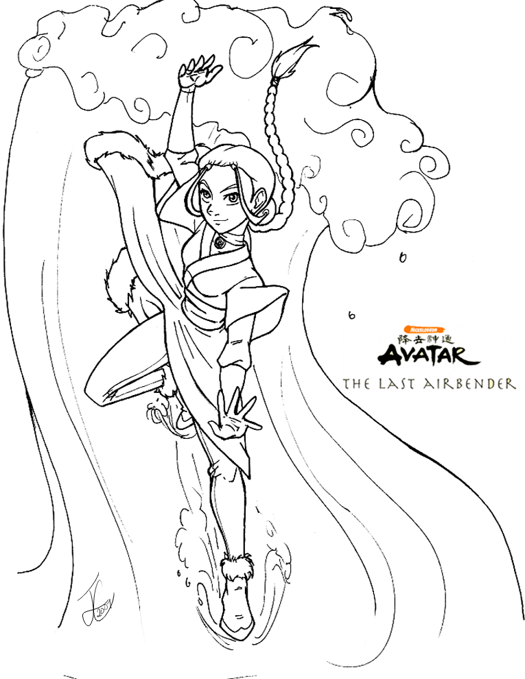 AtLA Katara Coloring Page by DelusionalHell on deviantART
