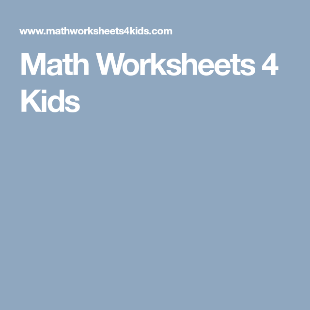 Math Worksheets 4 Kids | Education | Maths | Online Resources ...