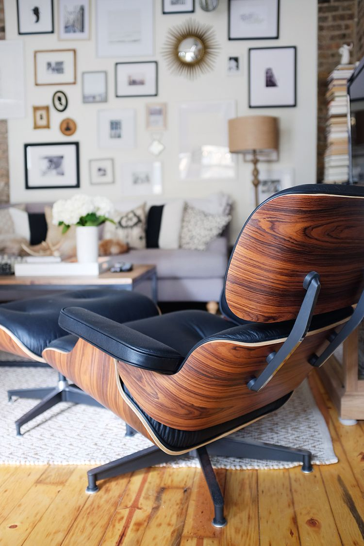 Eames lounger living room design gallery wall