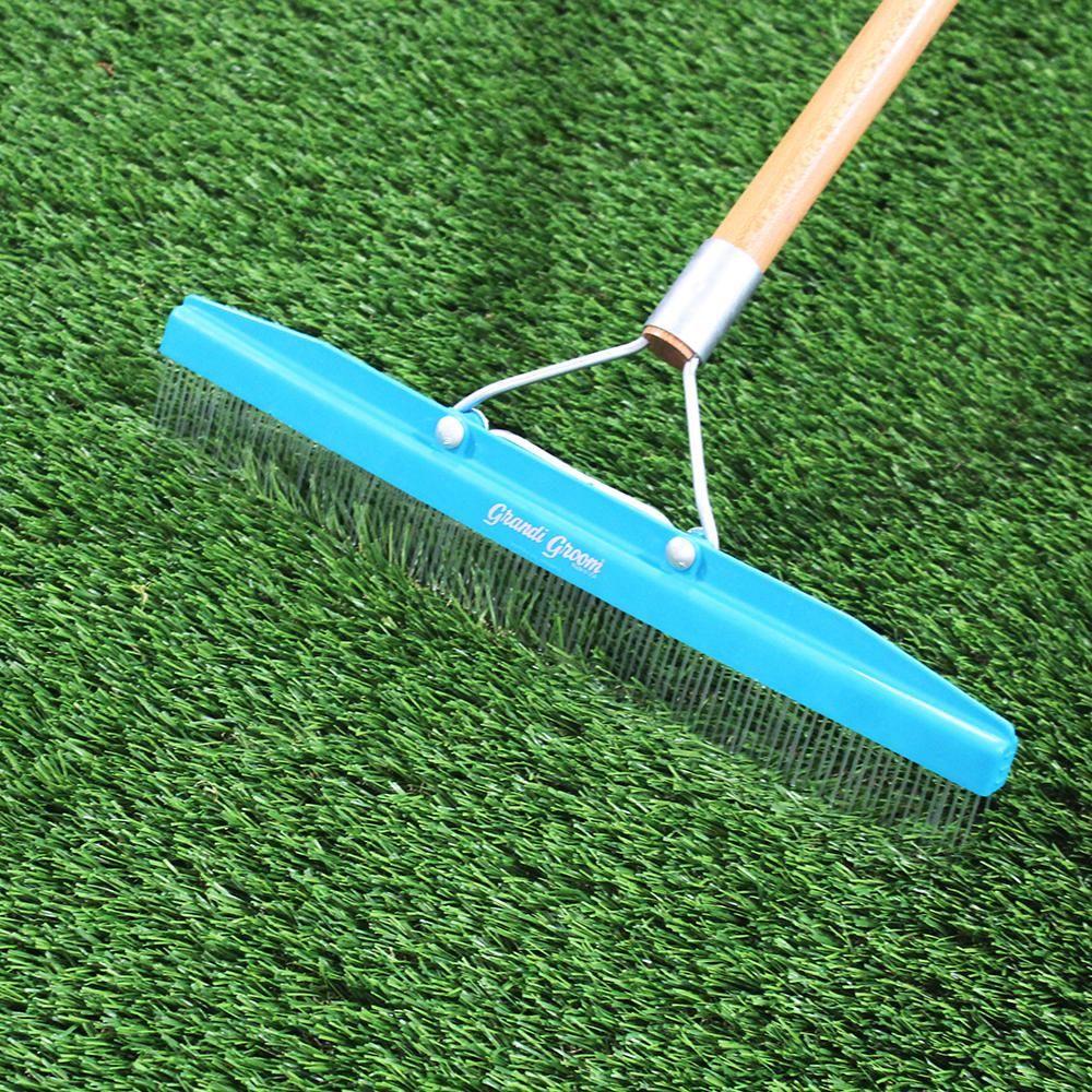 RealGrass Synthetic Grass Turf Rake with 5 ft. HandleEm