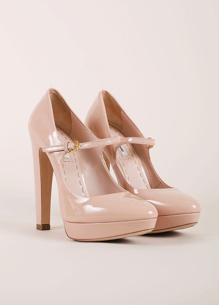 Nude Patent Leather Platform Mary Jane Heels