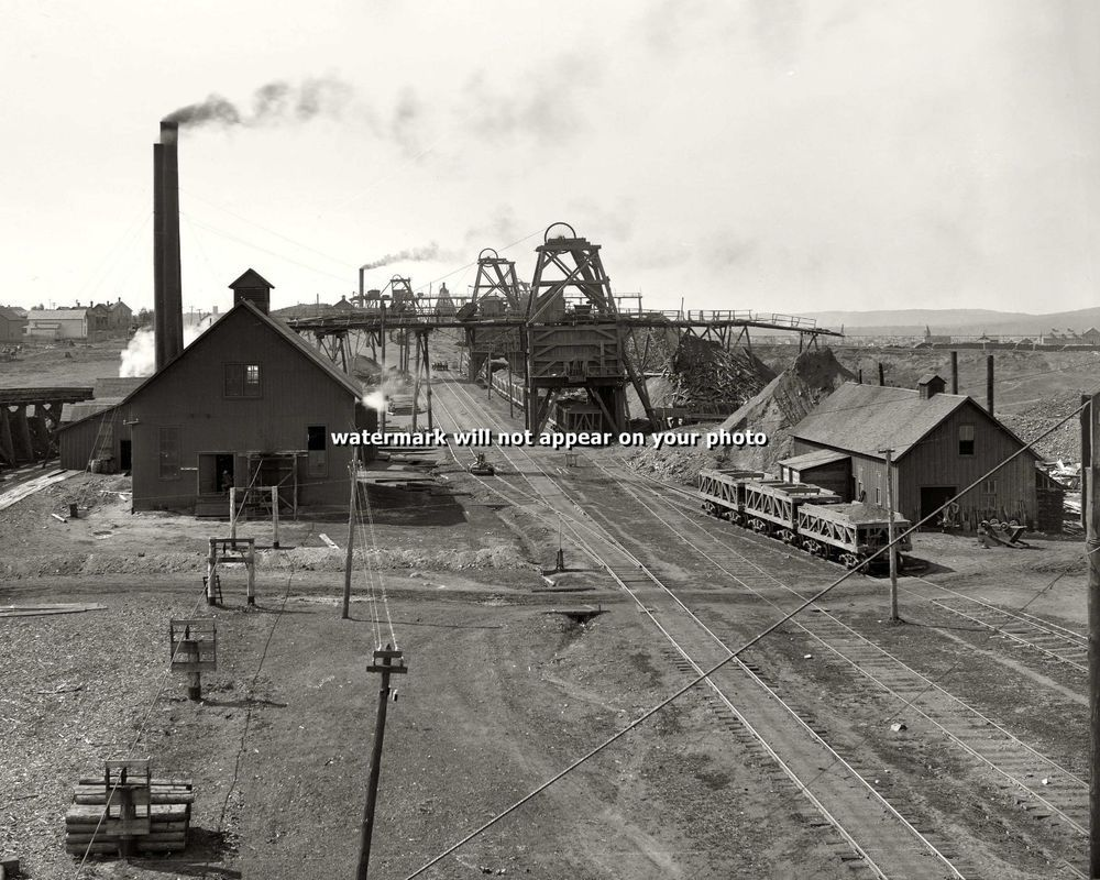 1899 IRONWOOD MICHIGAN - 8x10 Photo IRON MINE NORRIE No.3 ORE RAILROAD PICTURE