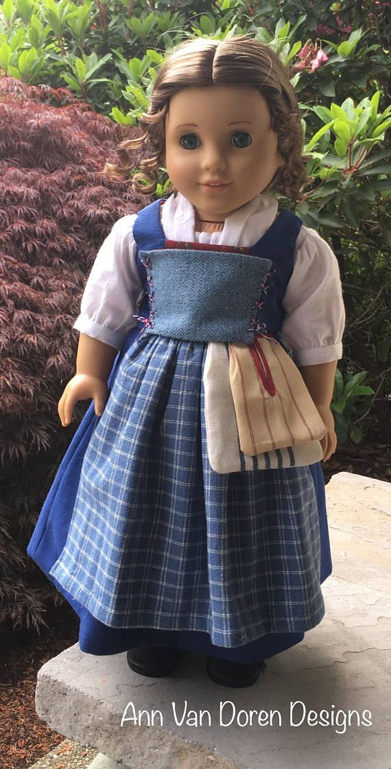 c1c92c3c8d1 My version of Belles provincial outfit, created for your 18 doll such as  American Girl®, features a blue vest with soft corset and a blue petticoat  ...