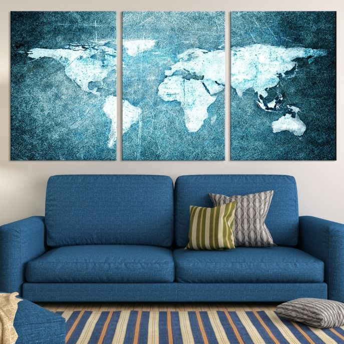 Large wall art canvas print modern white world map on light blue large wall art canvas print modern white world map on light blue background mygreatcanvas gumiabroncs Images