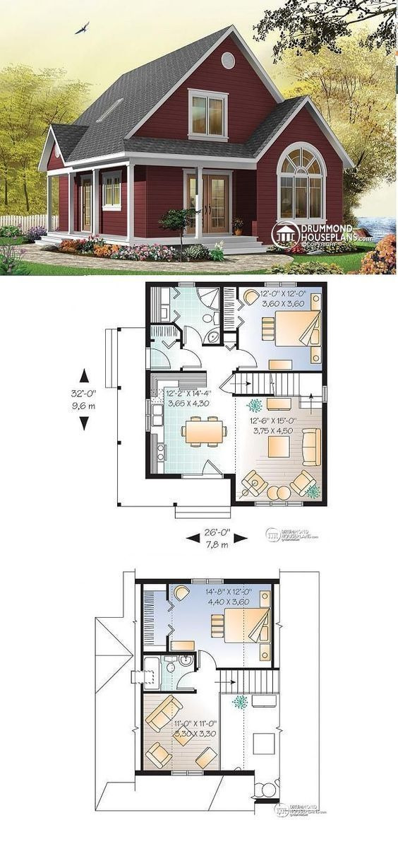 W3507   Affordable Transitionnal Cottage House Plan, 2 To 3 Bedrooms Or  Home Office, Mezzanine, Covered Balcony