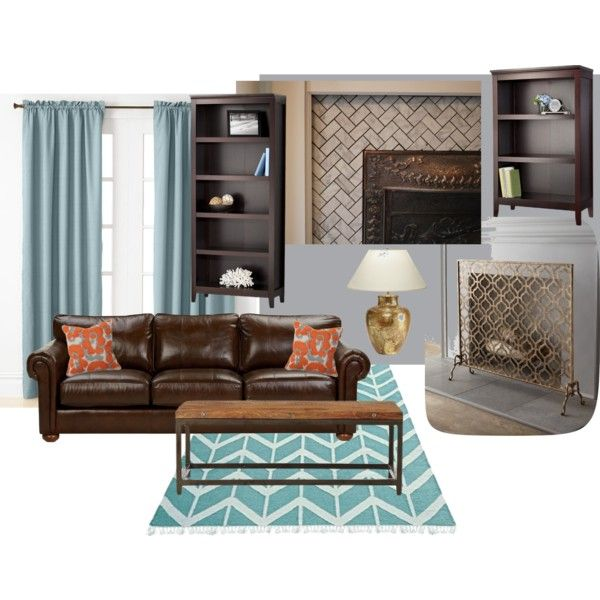 dark wood with aqua and orange pops of color and gold metallic accents