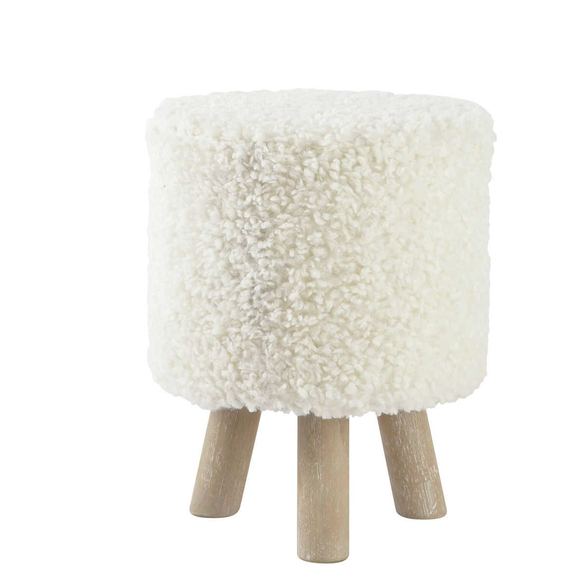 60 10 chez maisons du monde pouf tabouret blanc alpaga voir si pas le meme style moins cher. Black Bedroom Furniture Sets. Home Design Ideas
