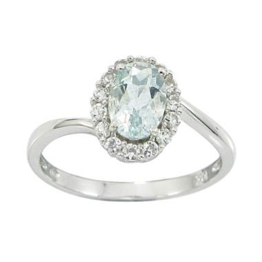 10k White Gold Genuine Aquamarine Lab Created White Sapphire Ring Found At Jcpenney Aquamarine Engagement Ring White Sapphire Ring White Gold