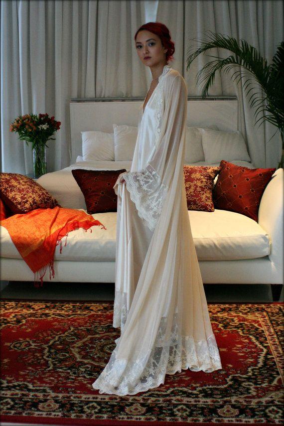 Hochzeits-Seiden-Robe Champagner Chiffon Braut von SarafinaDreams ...