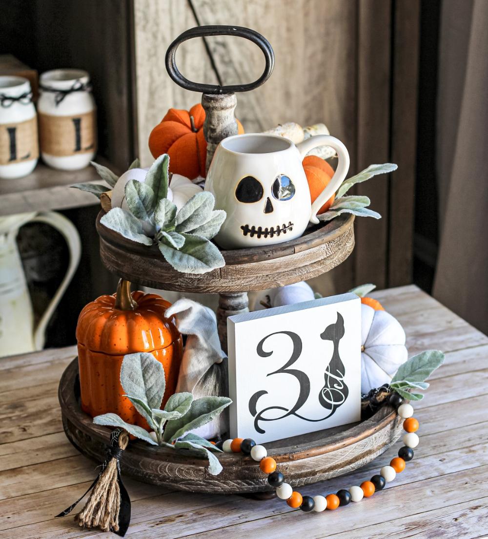 October 31 - Halloween Tiered Tray Decor - Halloween Decor - Rustic Mini Sign - Spooky Home Decor - Farmhouse Halloween Sign #tieredtraydecor