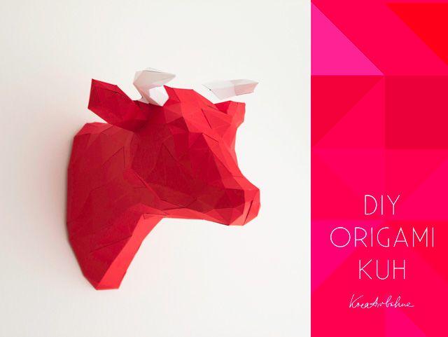 origami kuh kopf wanddeko anleitung papercraft origami. Black Bedroom Furniture Sets. Home Design Ideas