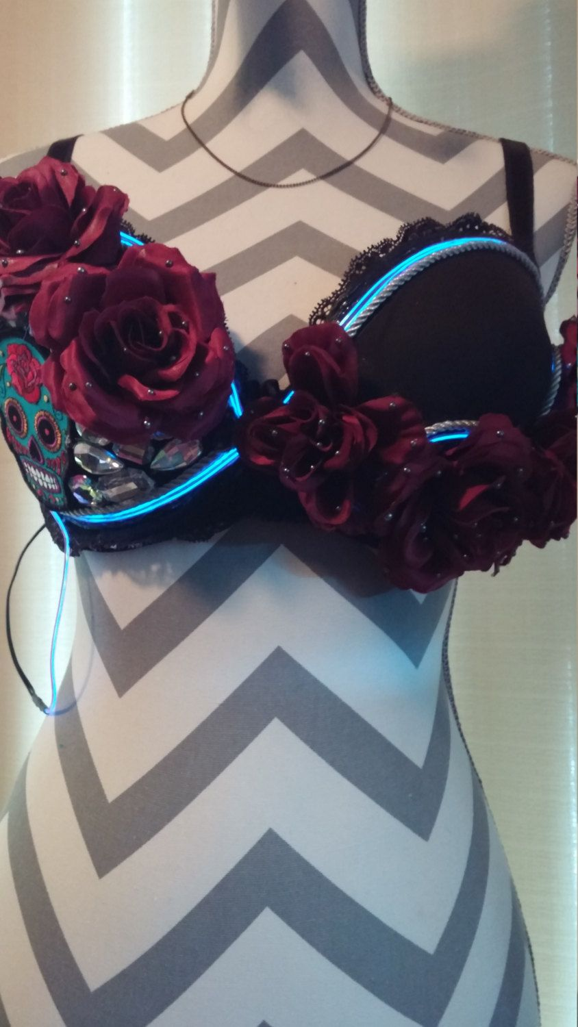 Day of the Dead Outfit, Halloween Outfit, Custom Bra, El Wire by ...