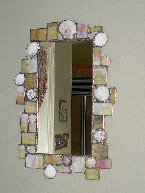 Funky sea shell and stained glass mirror
