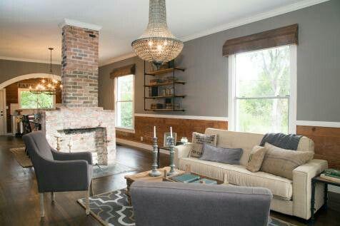 Photo of free standing brick fireplace