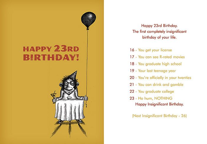 Happy 23rd Birthday The First Insignificant Birthday Of Your Life 16 Driver S License 17 R Rated Movies 18 Graduate Hs 19 Last Teenage Year 20 Y Happy 23rd Birthday Happy 23rd Birthday Quotes 23rd Birthday Quotes