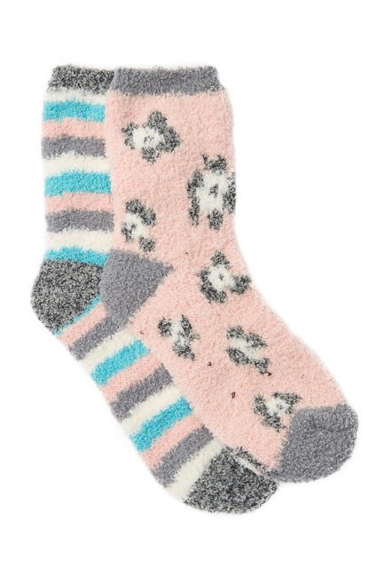 Free Press Patterned Micro Crew Fuzzy Socks Pack of 2