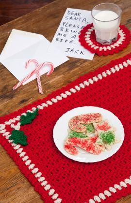 Holiday Placemat Set Crochet Pattern Christmas Crochet Patterns Crochet Xmas Christmas Placemats