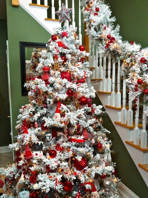 flocked christmas tree decorating ideas flocked tree oh this red only is really lovely i would keep this up until after valentines day - Decorated Flocked Christmas Trees