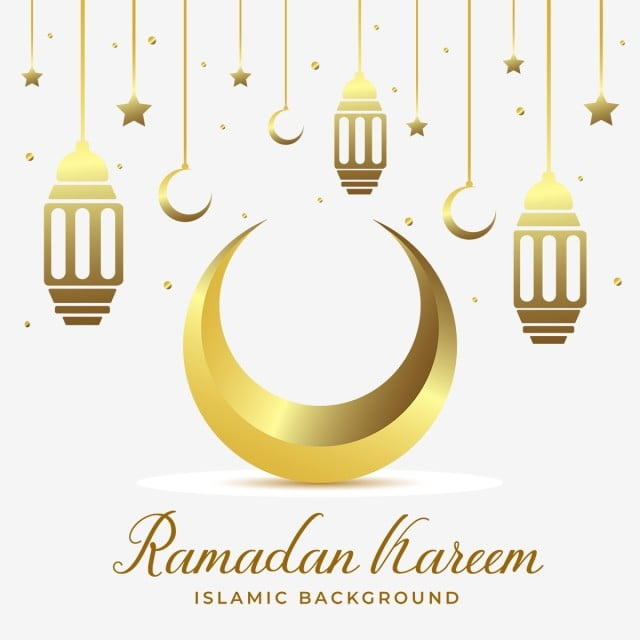 Elegant Golden Moon With Hangings Lantern Eid Ramadan Kareem Png And Vector With Transparent Background For Free Download Hanging Lanterns Lanterns Hand Painted Ornaments