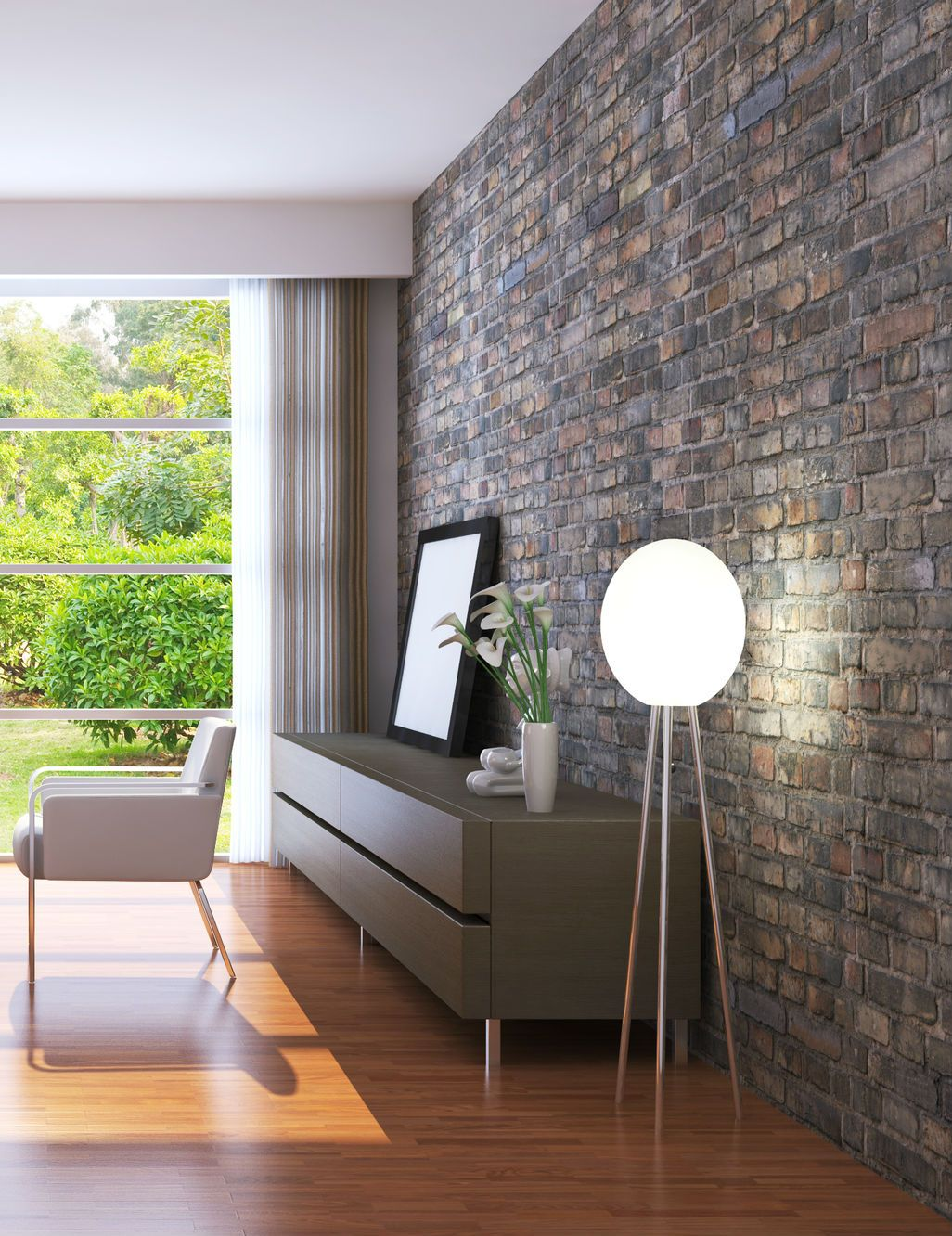Elegant Living Room With An Exposed Brick Wall Mortonst
