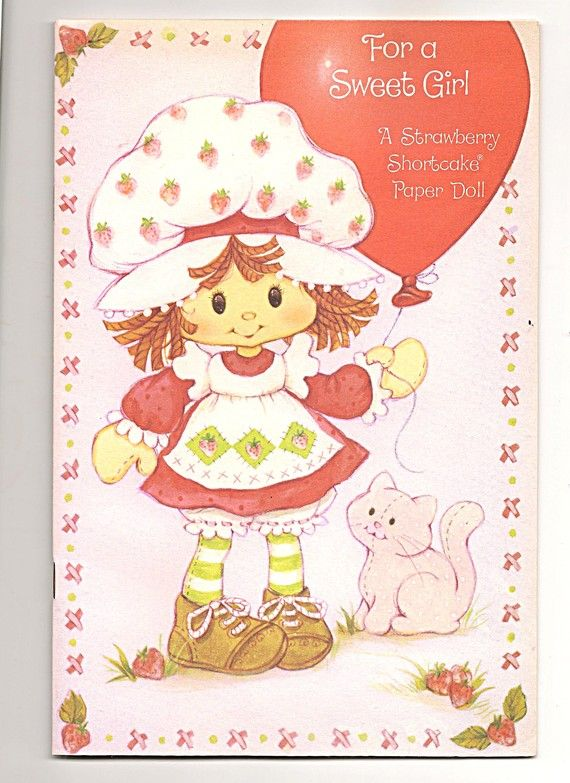 Vintage Strawberry Shortcake Birthday Paper Doll Card Extra – Extra Large Birthday Cards