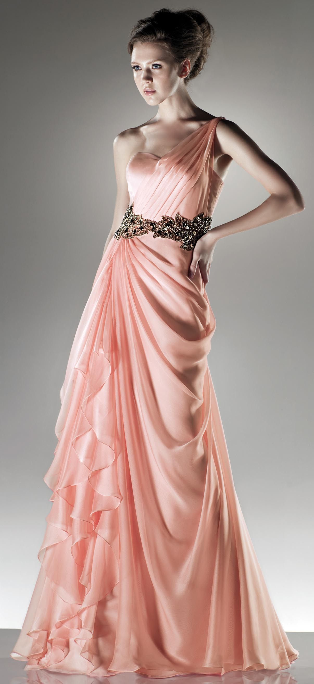 Elegant one shoulder chiffon gown promwedding hair