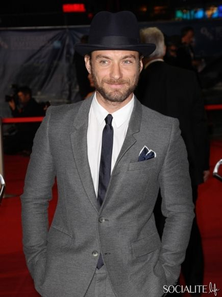Just Because: Jude Law Is So Dapper In His Suit & Tie & Hat ...