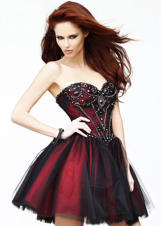 Black Red Short Beaded Lace A Line Strapless Party Dress Cocktail