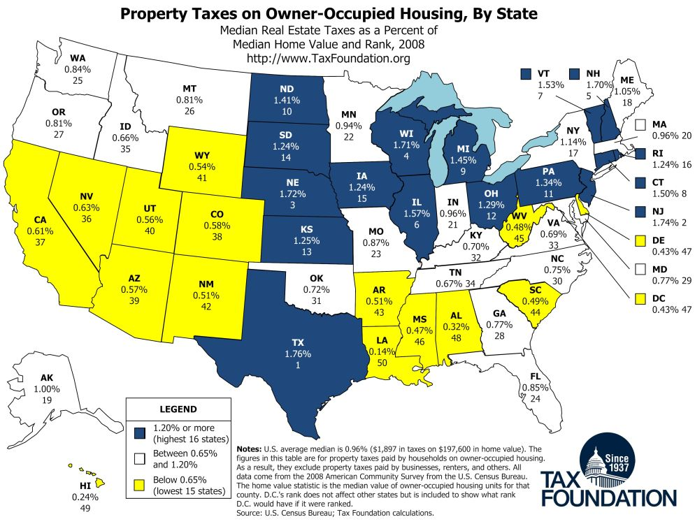 Map Property Taxes On Owner Occupied Housing By State Map