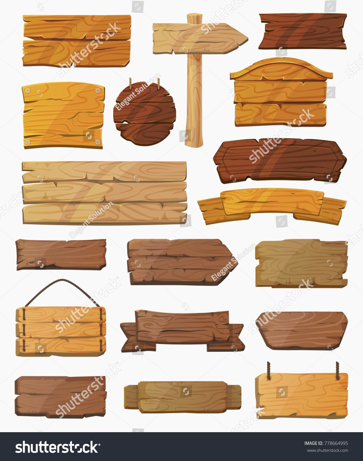 Blank Or Empty Clear Isolated Wooden Planks Or Signboards Set Of Vintage Or Old Retro Banners With Nails Signs For Messages Or P Wooden Planks Wooden Plank