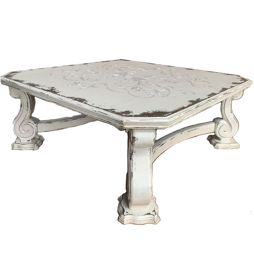 White Francesa Scroll Coffee Table In 2020 Coffee Table Rustic Square Coffee Table Shabby Chic Dining Tables